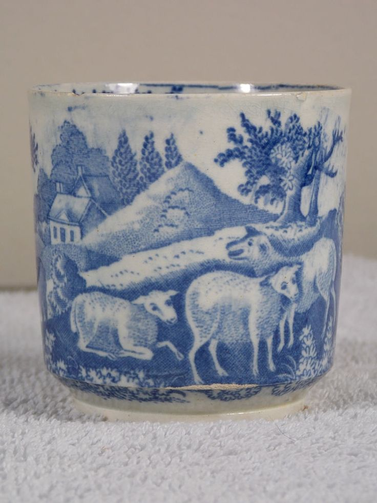 Antique Blue & White Pearlware Child's Mug Romantic Scene Sheep Courting Couple #Romantic #Unknown
