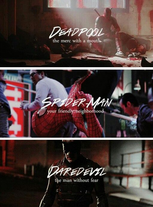 Marvel Red Team #daredevil #spiderman #deadpool tumblr>>> I have my own little headcanon that these three are best friends even before they join the Avengers. Then they welcome Ant Man and they have their own little team of fighting small crime and kicking ass.