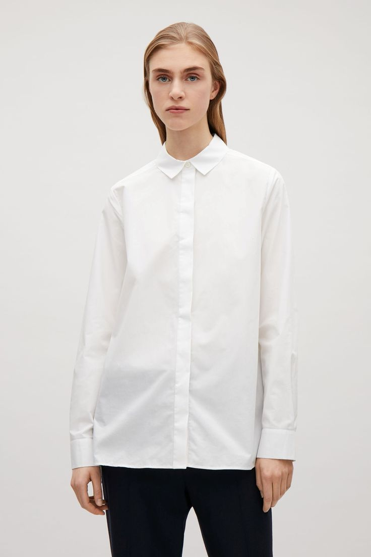 COS image 4 of Tailored cotton shirt in White