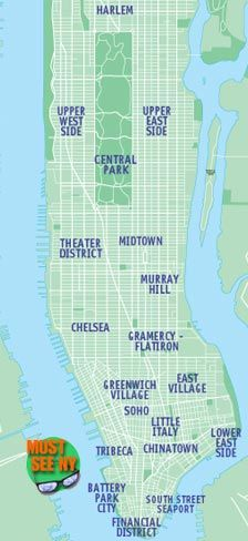 New York City Attractions Map - Location maps of Must See NYC sights, New York, NY museums, shopping, tours, arts and theatres from MustSeeNewYork.com