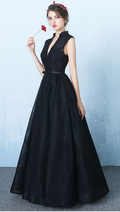 New Design Black Lace V Neck Prom Dresses,Standup Neck Backless Ball ...