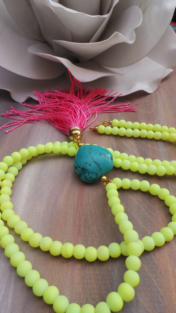 Long beaded tassel necklace. Summer necklace. Pink tassel necklace.  Neon yellow boho necklace. Turquoise heart necklace. Valentine's gift.