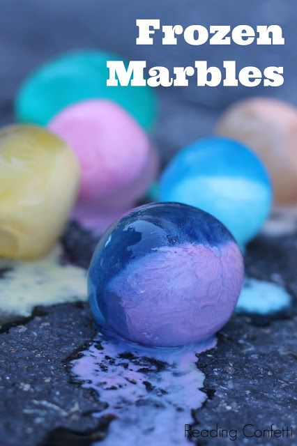 Fill water balloons with 1 part cornstarch, 1 part water and food coloring, and freeze. Peel off balloon and you have giant frozen marbles to play with on a hot day. Great idea!