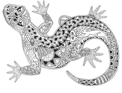 lizard abstract doodle zentangle paisley coloring pages colouring adult detailed advanced. Black Bedroom Furniture Sets. Home Design Ideas