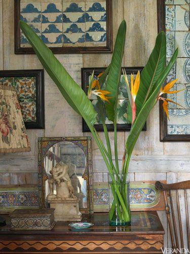 Well-Manicured: Exotic Tangier Garden | Bird-of-paradise, German Renaissance sculpture, 16th-century Spanish tiles.