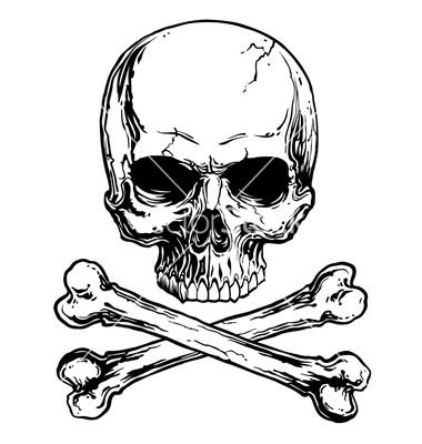Skull and crossbones, see how it looks less like a cross, and more like crossed bones. think as if the dog was standing and paw is on the floor. thats how the bones would look on paw.