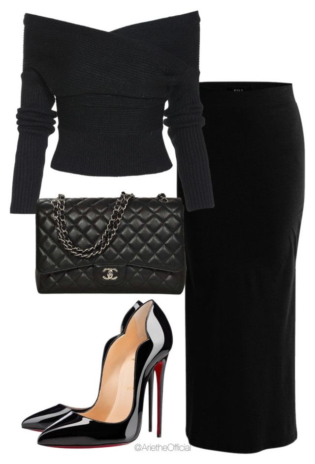 """Untitled #66"" by arietheofficial on Polyvore featuring VILA, Christian Louboutin and Chanel"