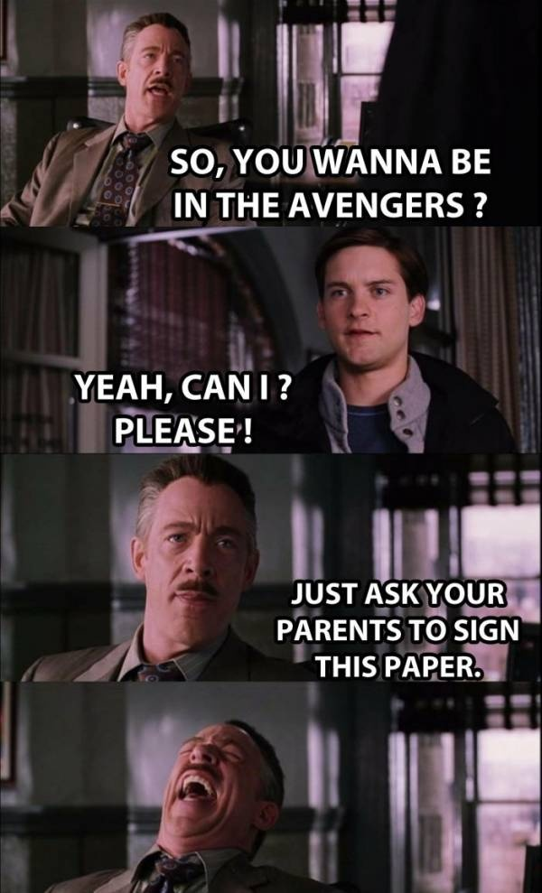 Why Spidey is not in The Avengers. So wrong but sooo funny.