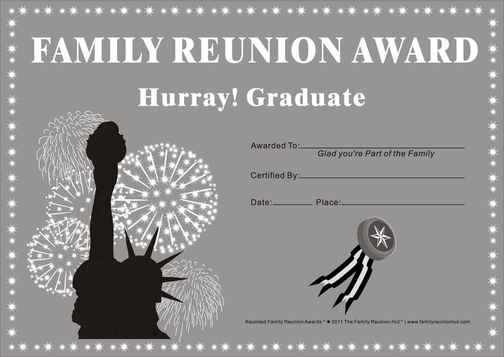 family reunion certificates