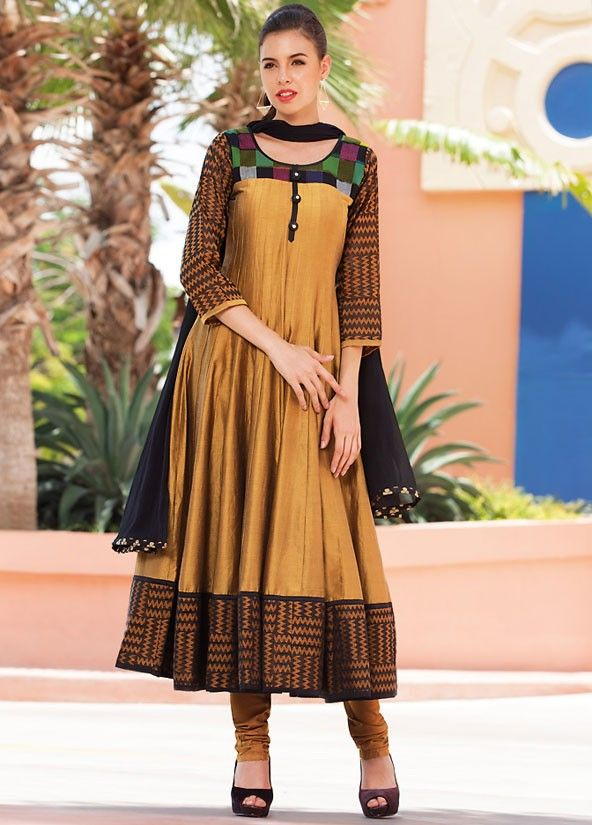 Mustard Yellow and Black Readymade Anarkali Suit