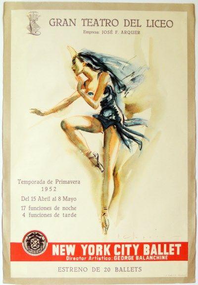 Gran Teatro del Liceo de Barcelona - New York City Ballet. #teatro #liceo #1952 #carteles