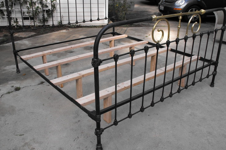 """Here is an example of the wooden 2"""" x 4"""" supports that should be used on all antique iron beds. Supports such as this will take the stress, load and additional weight that comes with todays modern mattresses, off the iron side rails and cast iron hitches."""