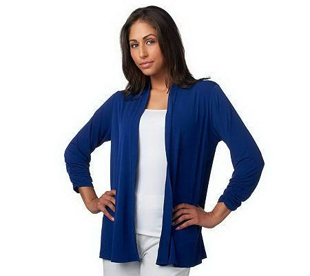 Susan Graver Blue Liquid Knit cardigan. QVC and Ebay. TIP: If you find these on Ebay and they have the apparel number (like A215971) you can check specific garment measurements on the QVC website to make sure you are getting a proper fit!