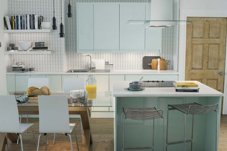 Wren Kitchens - Handleless Pale Sky - New for 2014 this soothing tone is the perfect kitchen colour. Resembling the soft shades of the sky, it can be warmed with natural wood and copper accessories, or kept cool with gray tones and white tiles.
