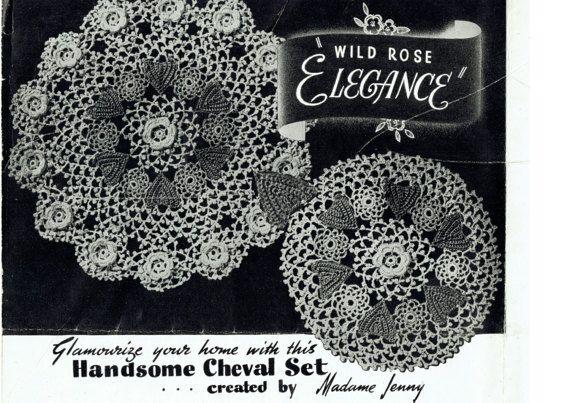 PDF Antique 1930s Doily Set Irish Crochet Pattern BULLTHORN