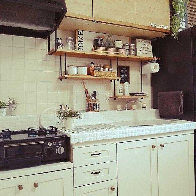 キッチン Diy タイル プラダン 賃貸のインテリア実例 2015 10 17 22