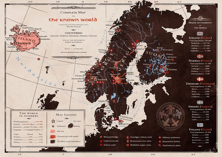 Complete map of the known world, by Minna Sundberg.