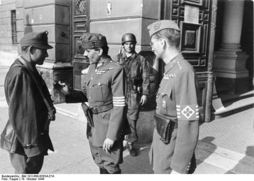 Hungarian Arrow Cross soldiers and German Paratroopers In Budapest late 1944