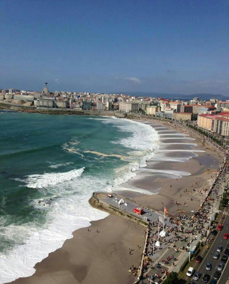 Playa de Riazor, A Coruna, Galicia