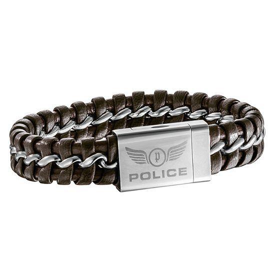 Καφέ Δερμάτινο Ανδρικό βραχιόλι POLICE. Θα το βρεις στο e-shop μας με 11% έκπτωση.