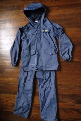 Columbia Rain Gear Jacket Pants Blue Youth Large PVC YLG Waterproof Hood Fishing