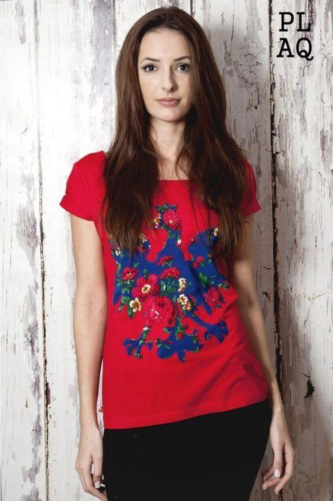 bluzki - t-shirty - damskie-T-shirt PL Flower Red Polaquito r.S
