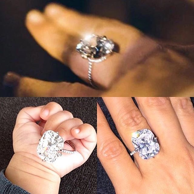 {THE MOST EXPENSIVE CELEBRITY ENGAGEMENT RINGS - KIM KARDASHIAN WEST & KANYE WEST} The 15-carat D Flawless cushion cut center stone apparently sits on a ring, bed of smaller diamonds, positioned in a way to maximize the stones' sparkle. The estimated value is $8milllion! West famously proposed to Kardashian on the jumbotron at AT&T Park in San Francisco after renting out the facility for a party, which included, amongst other things, a live 50-piece orchestra. IF FOLLOW THE CRYSTAL CLEAR…