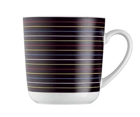 Muki Lines Arzbergin malli FORM 1382. Posliinia. Mustapohjainen, värikkäitä, ohuita raitoja.