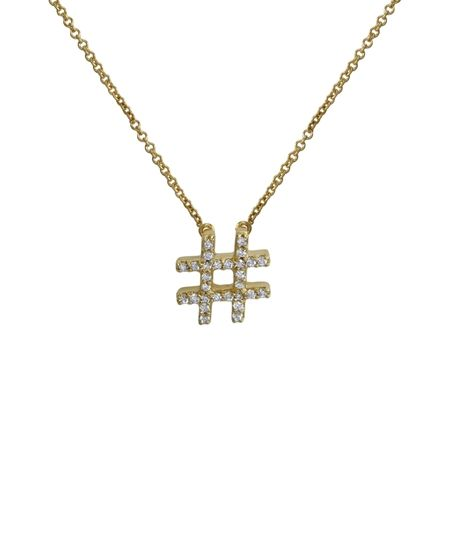 18K Diamond Hashtag Necklace