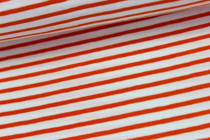 Jersey - Geringelt - Weiß/Orange - Campan auf alles-fuer-selbermacher.de
