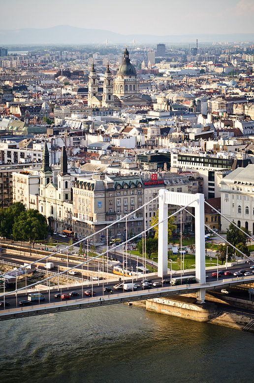 Elizabeth bridge and St. Stephen's Basilica, Budapest, Hungary