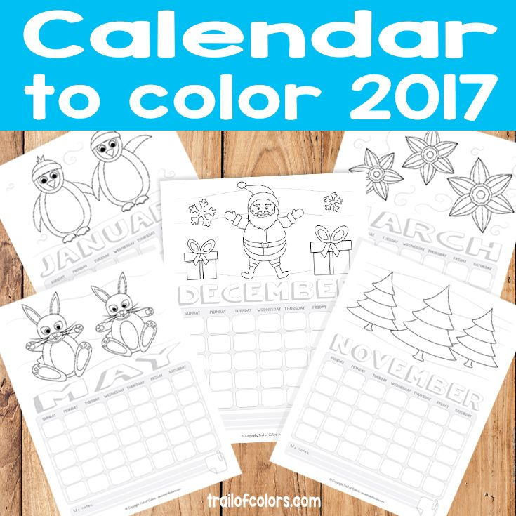 Printable 2017 Calendar for Kids to Color