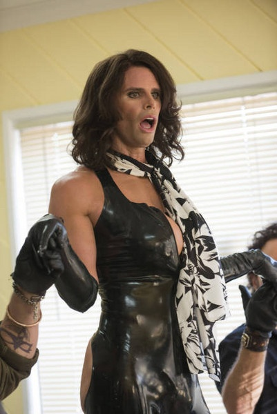 The BRILLIANT Walton Goggins as the lovely Miss Venus Van Damme on Sons of Anarchy. I really hope they bring her back - I know Tig would love to see her, too. (This guest spot got me watching Justified and The Shield)