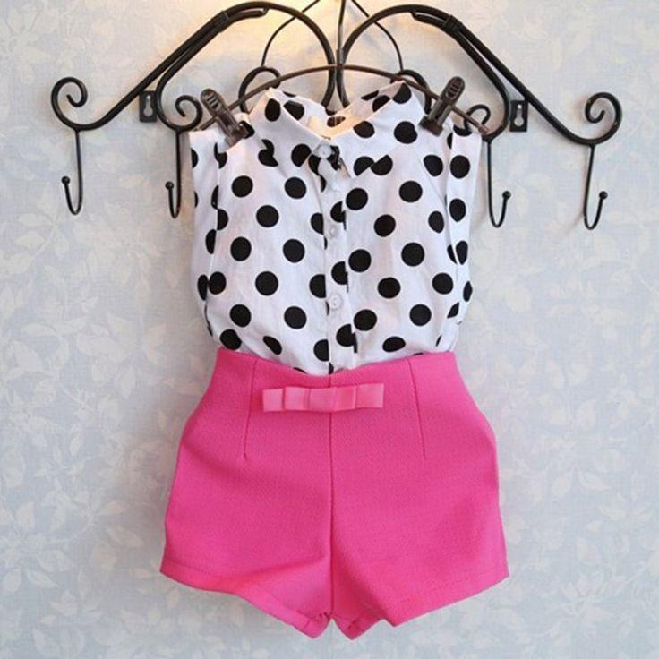 2pcs summer girls clothing set polka dot coat + pink pants shorts baby clothes #Affiliate