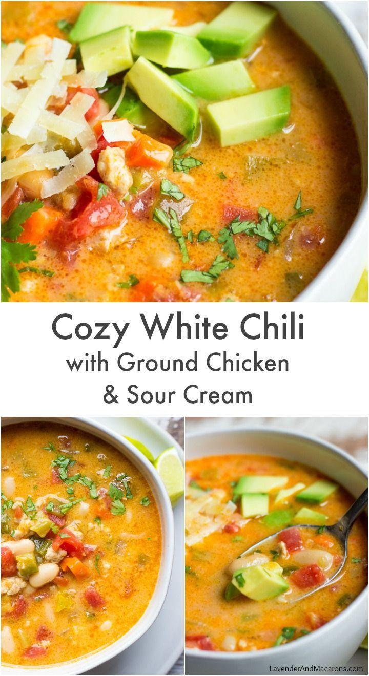 White Chili With Ground Chicken And Sour Cream Recipe Ground Chicken Recipes Ground Chicken Chili Recipe Ground Chicken