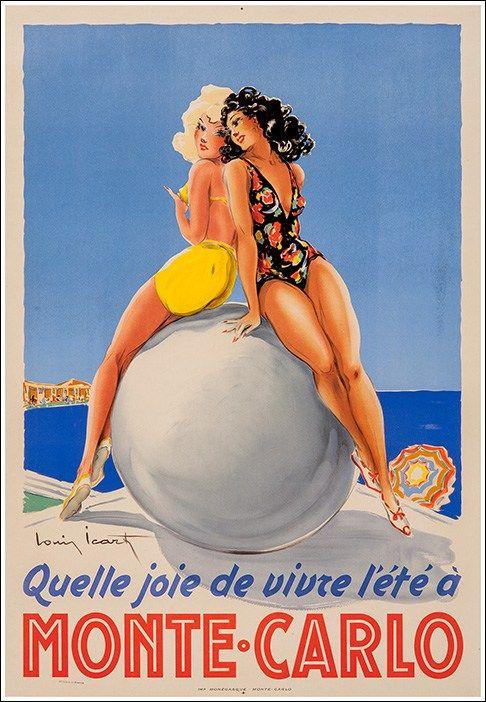 La joie de vivre l'été à Monte Carlo #poster #vintage #travel manifesto estate  www.posterimage.it