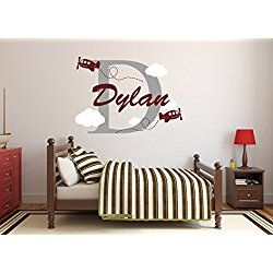 Airplanes Personalized Name Wall Decal - Airplanes Boy Room Decor - Nursery Wall Decals - Airplanes Clouds Wall Decal Vinyl Sticker for Boys Decalzone Inc