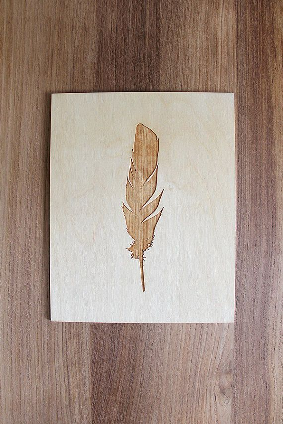 MADE TO ORDER /// Allow One Week  This lightweight elegant feather plaque is ready to be framed, leaned against a wall, or put on a the wall with an adhesive or other unique methods—like a small gold binding clip.  Beautiful when finished with a light finishing oil or in its natural state—you can stain/paint it to your liking.  Please note since this is real wood the texture and color of each piece may vary slightly.  Material: 1/8in birch plywood Size: Multiple sizes are available in the…