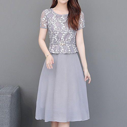 Women's Elegant A Line Dress - Geometric Print Light Blue XXL XXXL XXXXL - C... 11