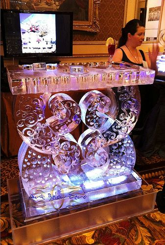 Parisian Swirl Table Ice Sculpture  _Weddings _Special Events _Ice Bars _Luges _Food Display