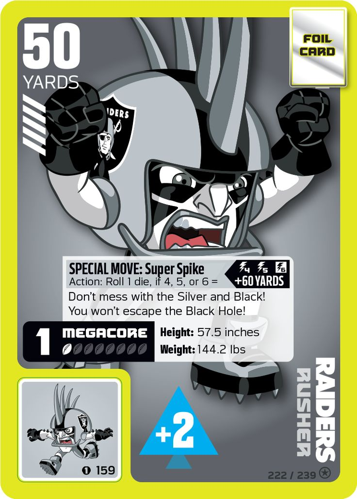 NFL Oakland Raiders Rusher card from the NFL RUSH ZONE Trading Card Game Kickoff Series 1--with PowerSticker affixed for added offensive & defensive boosts during gameplay  #Raiders #OaklandRaiders #NFL #Rusher #NFLrushzone #RushZone #tradingcardgame #NFLRUSHZONETradingCardGame #superbrandnew #MattCullen #PowerStickerz #endzone