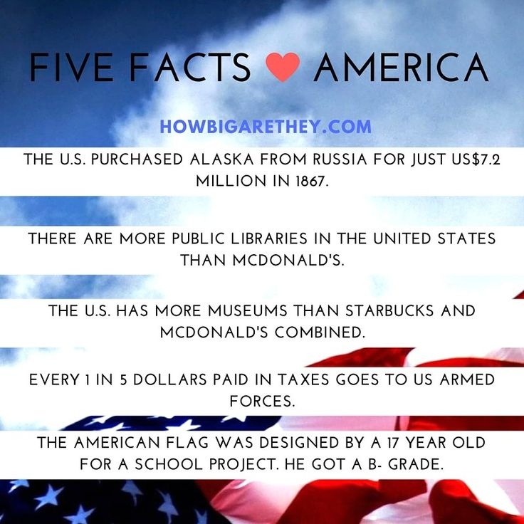 Five #Facts about #America  #AmazingFacts #USA #FourthJuly #ArmedForces #McDonalds #Museums #Libraries #Alaska #Russia #AmericanFlag
