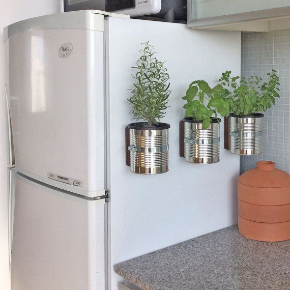 Magnetic self-watering planter.  Magnetised base for attaching to metallic surfaces (fridges, window frames, shelving systems, etc). Can also be hung