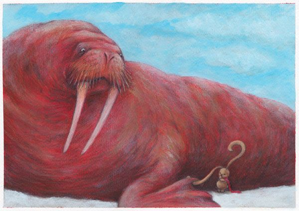 """WALRUS"" illustration by Sarah Khoury. From the book ""Ciacio al Polo""(""Ciacio at the Pole""), 2012"