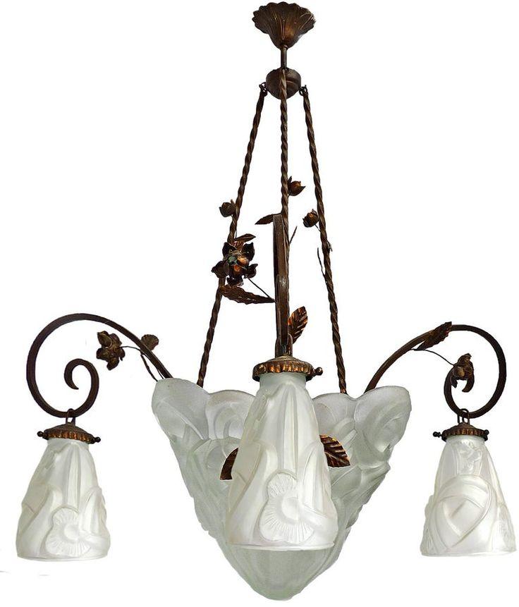 Muller Fres Lunneville Kronleuchter / Anhänger – Art Nouveau Forged Iron Signiert Müller Lunneville 1930 Französisches Art Deco Schmiedeeisen, Art Glass