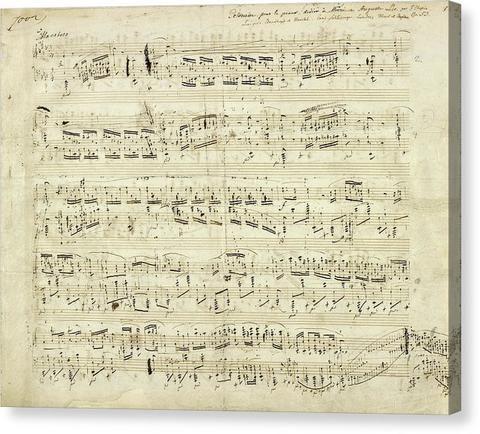 Handwritten Sheet Music By Frederic Chopin Canvas Print Music