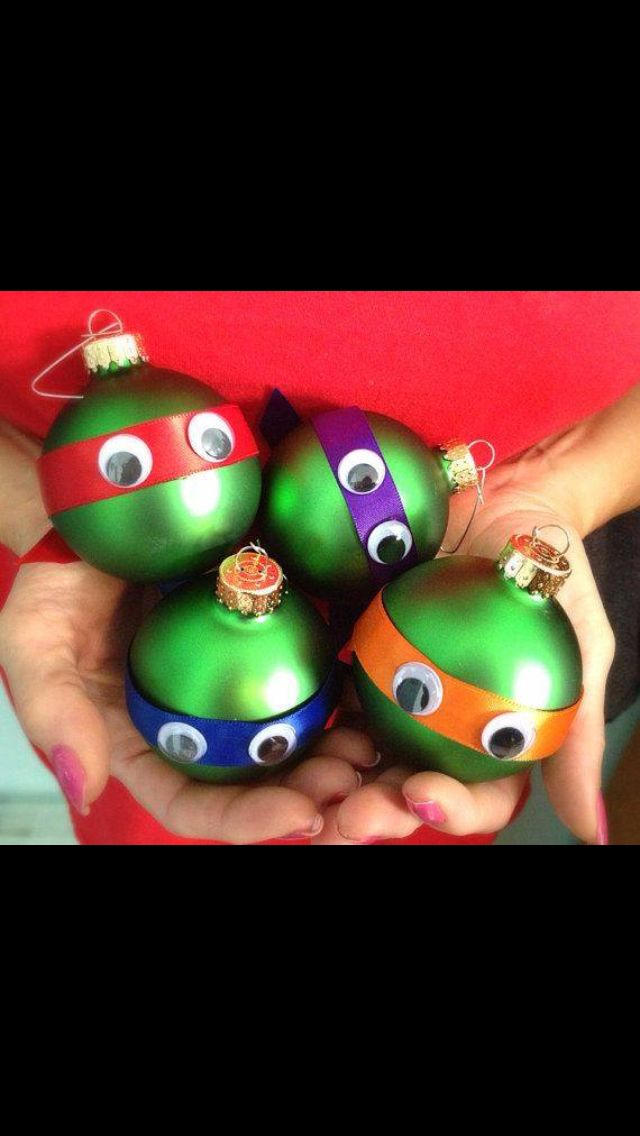Teenage mutant ninja turtle Christmas bulb craft.  I wouldn't want them on my tree, but someone might.