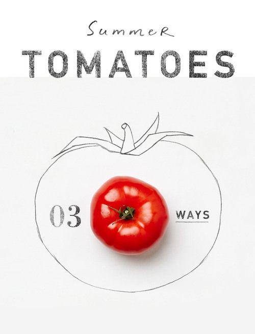 一組主題是用番茄做出三種不同料理的「插畫食譜」,用美麗的食品照片結合手繪線條插畫,搭配烹調步驟告訴別人如何料理。