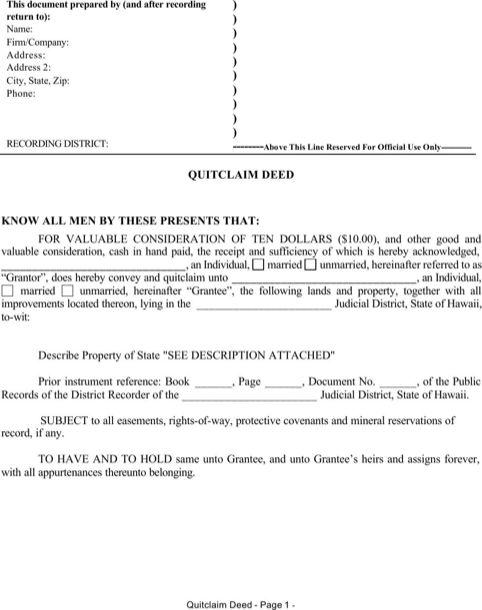 Hawaii Quitclaim Deed Form