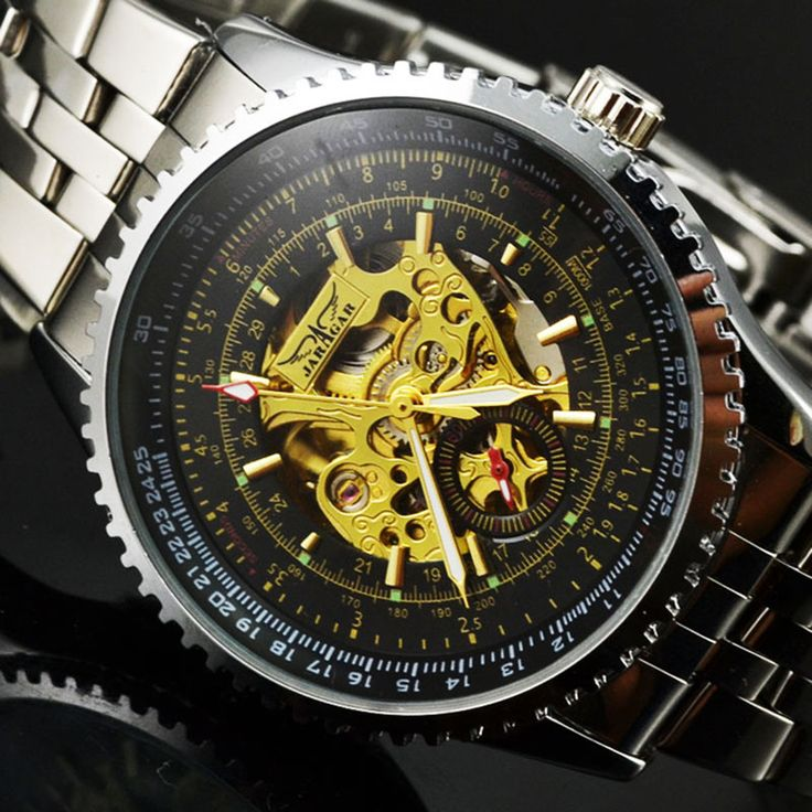 Stainless Steel Auto Mechanical Military Skeleton Watches Fashion Automatic Self Wind   Wristwatches Men Watch JARAGAR W18110-in Mechanical Watches from Watches on Aliexpress.com   Alibaba Group